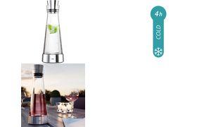 emsa Kühlkaraffe FLOW Slim, 1,0 Liter, Glas/Edelstahl
