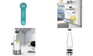 emsa Kühlkaraffe FLOW BOTTLE, 1,0 Liter, Glas/Edelstahl