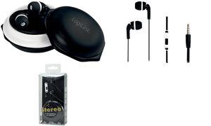 LogiLink In-Ear Kopfhörer mit Mikrofon, Stereo, schwarz/weiß
